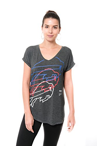 Ultra Game NFL Buffalo Bills Womenss Vintage Stripe Soft Modal Tee Shirt, Charcoal Heather, X-Large