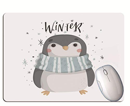 Gaming Mouse Pad, Penguin With Scarf On Snowy Day, Durable Rubber, Solid...