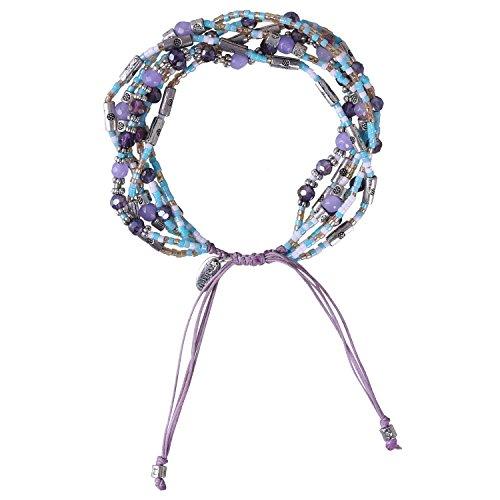 KELITCH Bohemia Cristal Mezcla Rebordeado 6 Capas Hebra Pulsera Hecho A Mano Envolver Pulsera Amistad Jewelry(Púrpura)