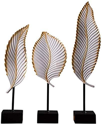 HXPBJ Figuras Glam Accent Estatua Coleccionable Decoración De La Hoja Home Ornament Crafts Set De 3