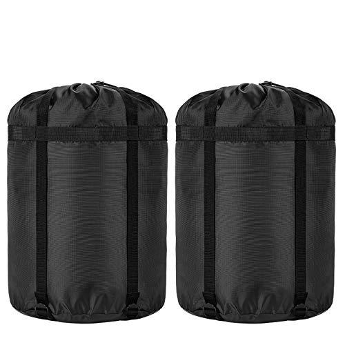 Borogo, sacco a compressione per sacco a pelo, 45 l, impermeabile, per campeggio, escursionismo, zaino in spalla – ottimo sacco a pelo per vestiti, campeggio, escursionismo (confezione da 2)