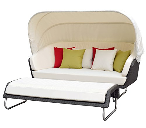 Dehner Sunlounger Aruba mit Hocker, Lounge ca. 190 x 86 x 100 cm, Hocker ca. 160 x 60 x 36 cm, Polyrattan, grau