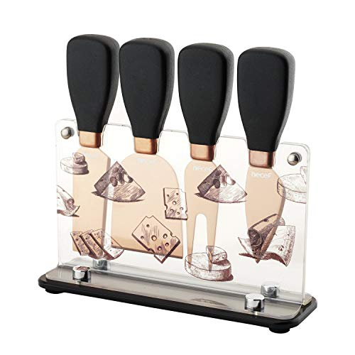 Hecef Cheese Knife & Acrylic Stand Set of 5 - Stainless Steel Cheese Slicer with PP Handle & Acrylic Stand