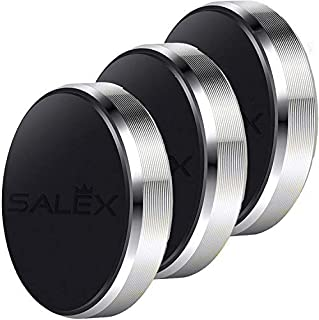 SALEX Magnetic Mounts [3 Pack]. Universal Cell Phone Holder Stick On Car Dashboard, Wall. Flat Hands Free Kit for iPhone Xs Max/Xr/8 plus/7s/6s, Samsung Galaxy S10e/S10+/S9+/S8+/Note9, HTC [Silver]