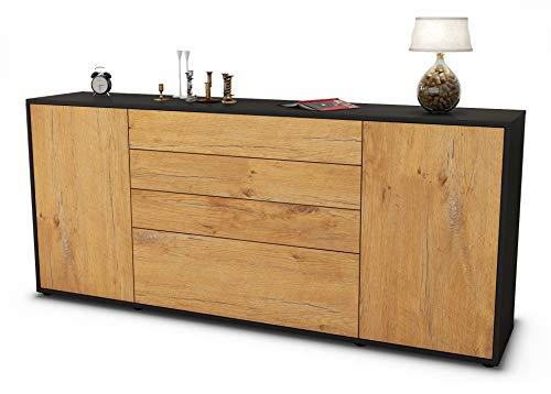 Stil.Zeit Sideboard Eleni/Korpus anthrazit matt/Front Holz-Design Eiche (180x79x35cm) Push-to-Open Technik & Leichtlaufschienen