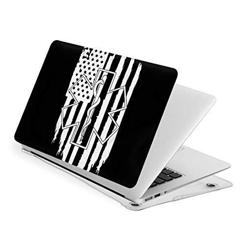 NFGrfd American Flag EMS Star of Life Waterproof Pv Laptop Protector, Hard Shell Case with Bottom Cover Compatible with MacBook Touch13