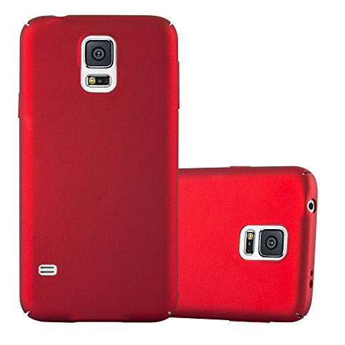 Cadorabo Custodia per Samsung Galaxy S5 / S5 Neo in Rosso Metallo - Rigida Cover Protettiva Sottile con Bordo Protezione - Back Hard Case Ultra Slim Bumper Antiurto Guscio Plastica