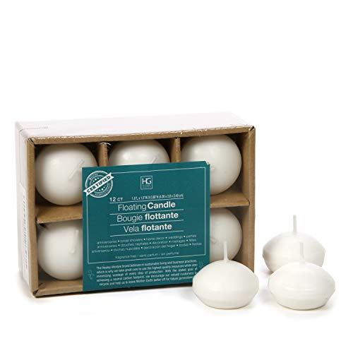 "Hosley Set of 12, White Unscented Water Floating Mini Candle Discs- 1.6"" Diameter. Ideal Gift for Weddings, Home Decor Relaxation, Spa. Smokeless Cotton Wick. Bulk Buy, Wax Blend O3"