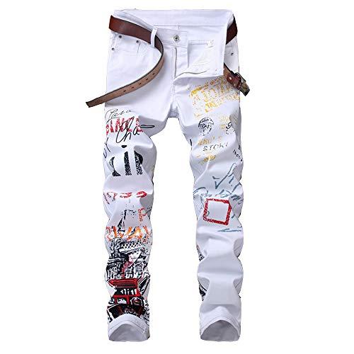U/A Jeans Europeos y Americanos para Hombres Jeans elásticos Pantalones Casuales Pantalones Rectos Estampados Jeans para Hombres