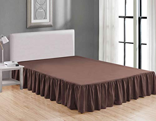 Sheets & Beyond Wrap Around Solid Luxury Hotel Quality Fabric Bedroom Dust Ruffle Wrinkle and Fade Resistant Gathered Bed Skirt 14 Inch Drop (Queen, Brown)