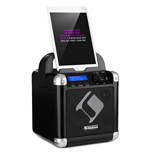 auna BC-1 - Karaoke-Anlage, Mini-Sound-System, Karaoke-System, LCD-Displays, 15-Watt-RMS-Ausgangleistung, Bluetooth, USB-Eingang, Gewicht: 1,9 Kg, Akku, Tragegurt, robust, schwarz