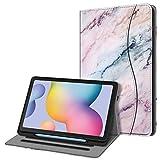 FINTIE Funda para Samsung Galaxy Tab S6 Lite de 10.4' con Portalápiz - [Multiángulo] Trasera de TPU Suave con Bolsillo Auto-Reposo/Activación para Modelo SM-P610/P615, Mármol Rosa