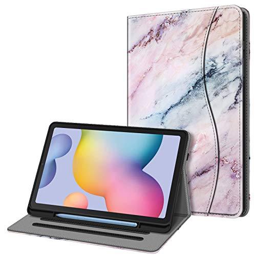 Fintie Hülle für Samsung Galaxy Tab S6 Lite, Soft TPU Rückseite Gehäuse Schutzhülle mit S Pen Halter & Dokumentschlitze für Samsung Tab S6 Lite 10.4 Zoll SM-P610/ P615 2020, Marmor Rosa