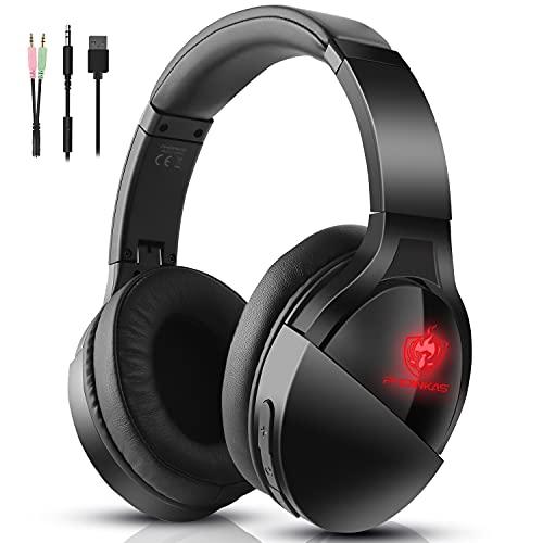 Auriculares PS4, PHOINIKAS Auriculares Juegos con Cable para Xbox One, PC, PS5, Micrófono con Cancelación de Ruido, Plegable, Auriculares Inalámbricos Bluetooth para Música con luz LED - Negro