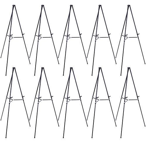 U.S. Art Supply 66' High Showroom Black Aluminum Display Easel and Presentation Stand (Pack of 10) - Large Adjustable Height Portable Floor and Tabletop Tripod, Holds 25 lbs, Paintings, Signs, Posters