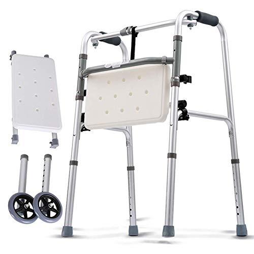 CMCL Bariatrischer Hochleistungs-Klappwagen, kompakter Klappwagen aus leichtem Aluminium der Health Line, Rollator, 2-in-1-Rollwagen mit Sitz und 2-Rollen-Sitz