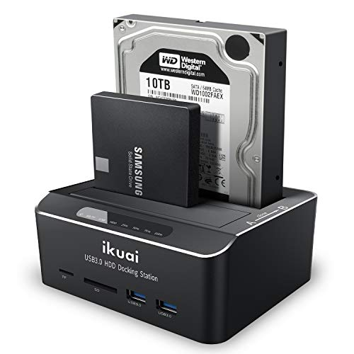 "ikuai SATA to USB 3.0 Dual Bay Hard Drive Dock for 2.5"" and 3.5"" SATA HDD SSD with SD TF Card Reader 2 USB 3.0 Ports and Offline Clone Function External Hard Drive Docking Station (UASP Supported)"
