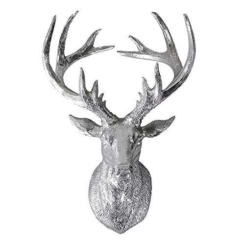 Formano Wanddeko Hirschkopf, 34x23cm, Silber, Deko-Büste mit Geweih
