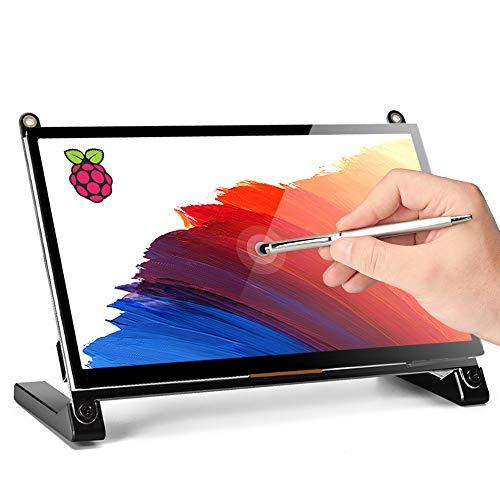 Raspberry Pi Touchscreen Monitor, Upgraded 7» IPS 1024X600 Dual-Speaker, USB HDMI Portable Monitor Capacitive Pi Display, Compatible with Raspberry Pi 3b+/Raspberry Pi 4b, Windows 7/8/10,Drive-Free