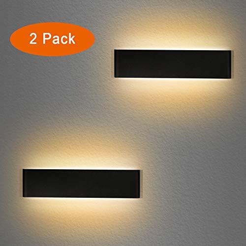 LED Wandleuchte Innen 12W Wandlampe Up Down Wandlicht Warmweiß 3000K Aluminium Wandbeleuchtung(2 Stücke)