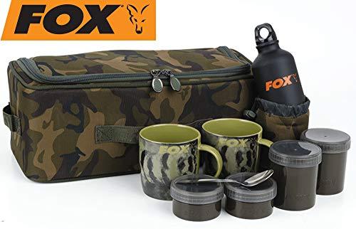 Fox Camolite Brew Kit Bag - Campingset zum Tee & Kaffee kochen, Campinggeschirr, Trinkbecher & Flasche zum Karpfenangeln