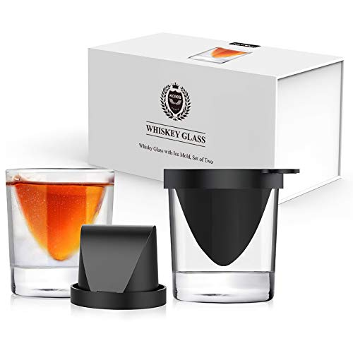 Kollea Whiskey Wedge Glasses with Silicone Ice Mold, Old Fashioned Whiskey Glasses Set of 2, Bourbon Glasses with Ice Form, Whiskey Lovers Gift for Men for Birthday, Anniversary, Retirement - 9 Oz