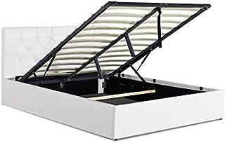 IDMarket - Lit Coffre Austin PVC Blanc avec sommier 140x190 cm