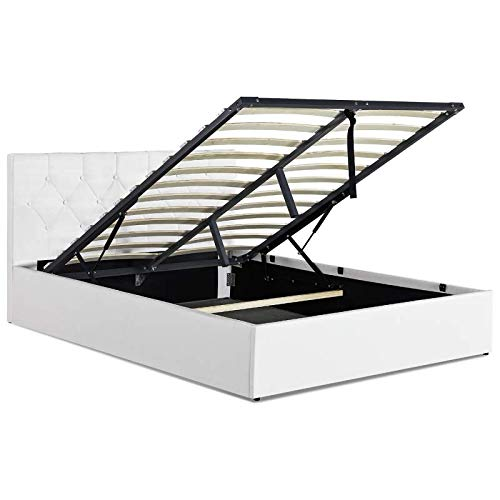 IDMarket - Lit Coffre Austin PVC Blanc avec sommier 140 x 190 CM