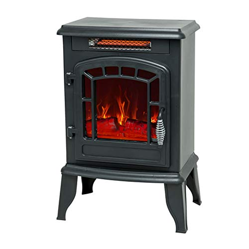 C-Hopetree Portable Electric Fireplace Wood Stove with Flame Effect, 1400w Freestanding Indoor Space Heater, 23 inch Tall