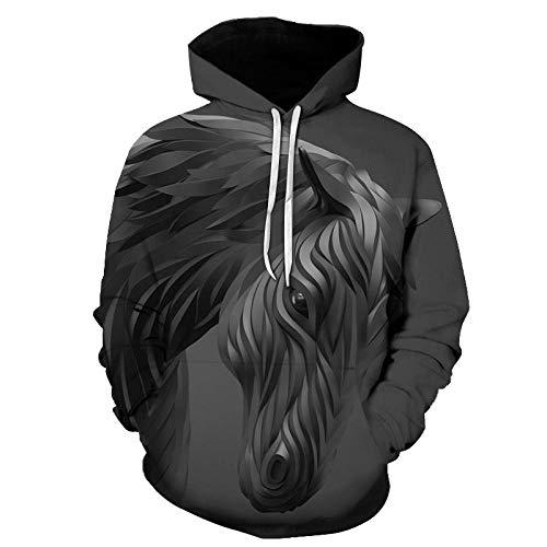 Europe and America - Suéter con capucha con diseño abstracto de cabeza de caballo