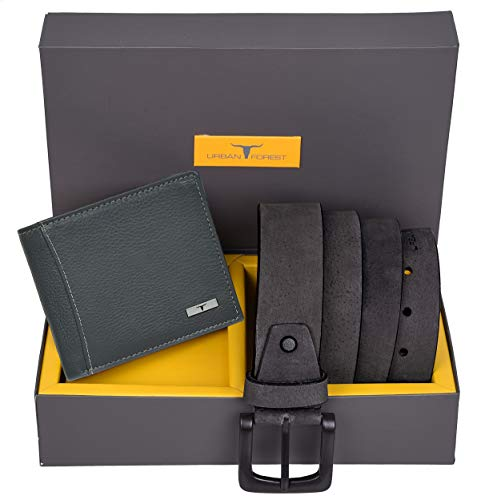 Urban Forest Brian Grey Leather Wallet & Grey Casual Belt Combo Gift Set for Men