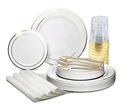OCCASIONS 320pcs set 40 Guests-Heavyweight Wedding Party Disposable Plastic Plate Set -40 x 105  40 x 75  Silverware  Cups linen like paper Napkins White Gold Rim