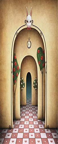 MACHINE BOY Etiqueta de la Puerta decoración del hogar Mural Papel Tapiz Cartel Arco de Dibujos Animados con baldosas Rojas y Blancas Tamaño 90 * 200 cm