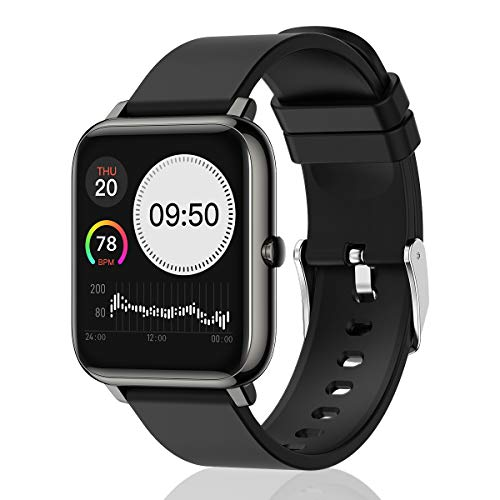 UWINMO Smart Watch for Android and iOS Phone, Sports Smart Watch with Blood Pressure & Heart Rate Monitoring , Sleep Monitor,Pedometer with Message Notification , Smart Watch for Men & Women(Black) Smartwatches