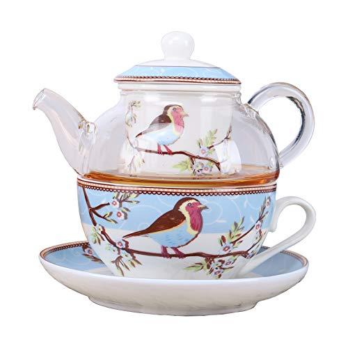 fanquare Juego de Té para Una Persona de Pájaros y Flores de Petirrojo Azul, Juego de Tetera con Taza de Café y Platillo de Porcelana con Tetera de Vidrio