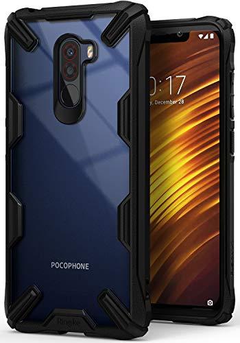 Ringke Fusion-X Compatible con Funda Xiaomi Pocophone F1 Ergonómico Transparente [Defensa Provista Caída Militar] Firme PC Back TPU Bumper Resistente Impactos Cover para Xiaomi Pocophone F1 - Black