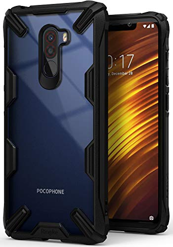 "Ringke Fusion X Designed for Pocophone F1 Case Ergonomic Transparent Tough MIL-STD 810G - 516.6 Certified Hard PC Back TPU Bumper Optimal Style Solid Protection Xiaomi Poco F1 6.8"" Cover - Black"