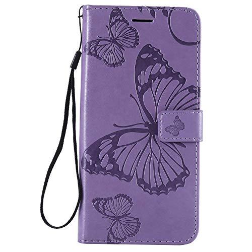 Gray Plaid Samsung Galaxy J4 Core Hülle, Gute Qualität Geprägtes Schmetterling Muster PU Leder Stand Flip Hülle Cover [Brieftasche] [Kartenhalter] für Samsung Galaxy J4 Core - Lila