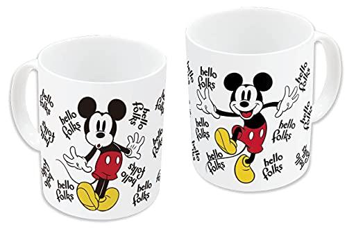 Minnie & Mickey Mouse 12236 - Taza de cerámica, diseño de Mickey Mouse Hello (325 ml), multicolor