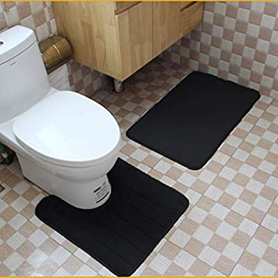 "Bathroom Rugs 2-Piece, Soft Anti-Slip Bath Rug 31""x20"" + U Shaped Contour Toilet Mat 24""x20"", Easier to Dry for Bathroom Floor Rugs, Bath Mat Set Memory Foam, Super Absorbent(Black)"