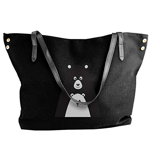 Bear And Little Bear Women Style Canvas Large Tote Top Handle Bag Shopping Hobo Shoulder Bag, Large Size 18.1'' X 4.9'' X 12.99''