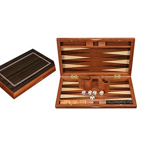 ZXIAQI Juego de Mesa de ajedrez de Backgammon Premium con Piezas de Madera para niños y Adultos,13in Board Wooden Chessman