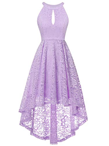 FAIRY COUPLE Women's Vintage Floral Lace Hi-Lo Sleeveless Cocktail Formal Swing Dress L Lavender