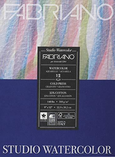 Fabriano 91230020 Tape Binding Acid-Free Cold Press Studio Watercolor Pad, 12 Sheets, 140 Pound, 8'x10'
