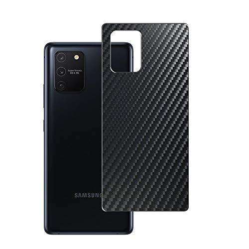 Vaxson 2 Unidades Protector de pantalla Posterior, compatible con Samsung Galaxy s10e S10 LITE, Película Protectora Espalda Skin Cover - Fibra de Carbono Negro