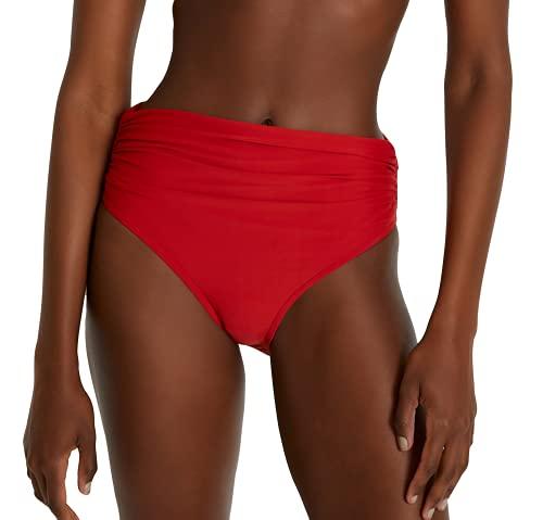 Lenny Niemeyer High Waist Bikini Bottom in Coral Red, Adjustable fold Over Waist (S)
