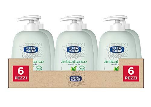 Neutro Roberts Sapone Liquido Antibatterico, Pelle Sana e Protetta, Té Verde con Ingredienti Naturali, Flacone in Bio Plastica, Riciclabile, Confezione da 6x200 ml