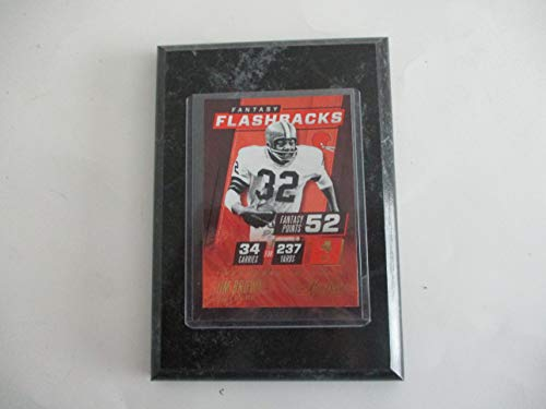 """JIM BROWN 2017 NFL PANINI ABSOLUTE FOOTBALL""""FANTASY FLASHBACKS"""" PLAYER CARD MOUNTED ON A 4"""" X 6"""" BLACK MARBLE PLAQUE"""