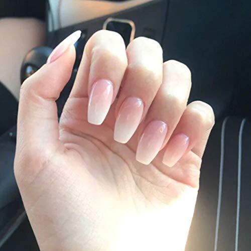 Jovono uñas postizas tono de piel gradiente blanco uñas postizas uñas largas cabeza artificial cobertura completa uñas cuadradas para mujeres y niñas (24 piezas)