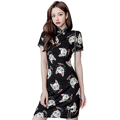 SADWQ Mujeres Chinas Imprime Cheongsam Slim Sexy Vintage Ladies Qipao Vestido de Fiesta de la Noche(Black,M)